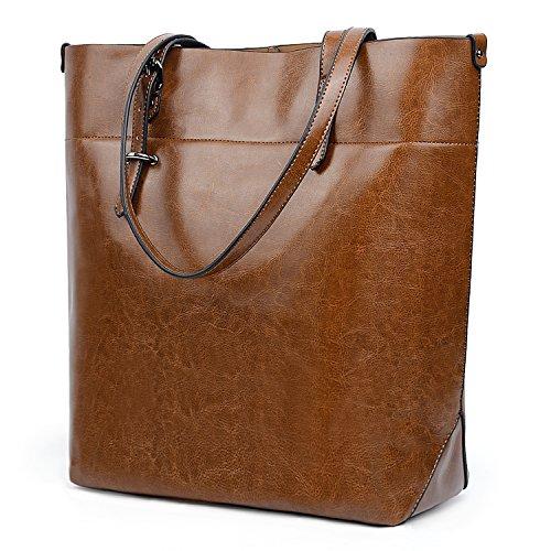 UTO Women Tote Bag Soft PU Leather Work Shoulder Bags Large Capacity Shopper Handbag Brown(Version 2) ()
