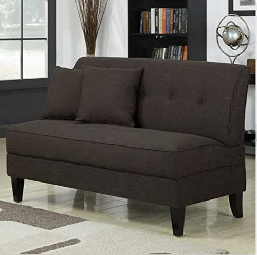 Contemporary Sofa Loveseat – This Upholstered Couch Is Made of Wood and Linen Material – Perfect Seat for Your Bedroom, Living Room – Free Toss Pillows – 1 Year Warranty Chocolate Linen