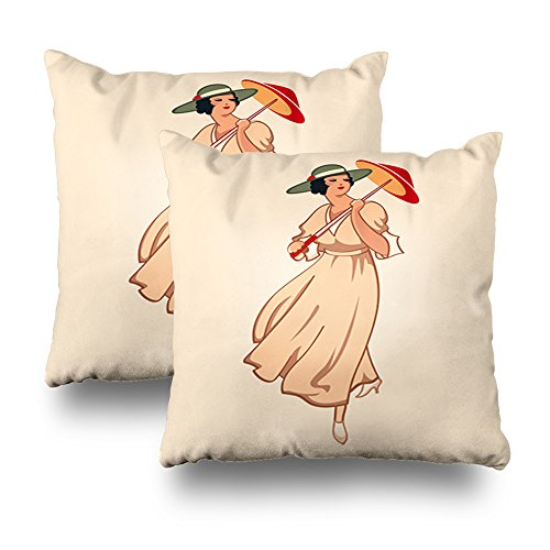 Kutita Decorativepillows Covers 18 x 18 inch Throw Pillow Covers,Art Nouveau Spring Fashion Girl With Umbrella Pattern Double-sided Decorative Home Decor Pillowcase Sofa Bedroom (Vintage Postcard Clipart)