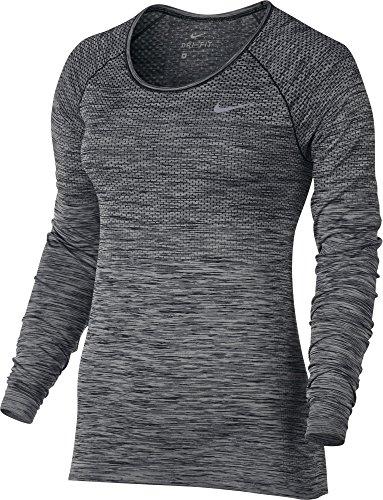 Nike Dry Fit Knit Top Ls Sz S Running Black/Htr