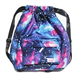 Dry Wet Separated Swimming Bag Floral Waterproof Drawstring Backpack Pool Beach Travel Gym Bag (Stars)