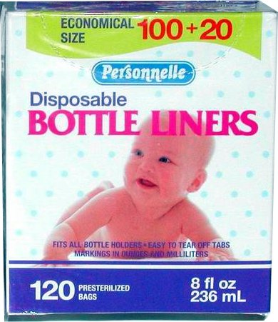 Personnelle Disposable Pre-sterilized Bottle Liners, 8 Oz - 120 Count