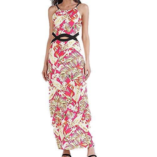 Isbxn Vestido de Temperamento Elegante de la impresión Digital de la Honda sin Mangas de la Cintura del Bolso de Las Mujeres Atractivas (Color : Pink, Size : XL) Pink