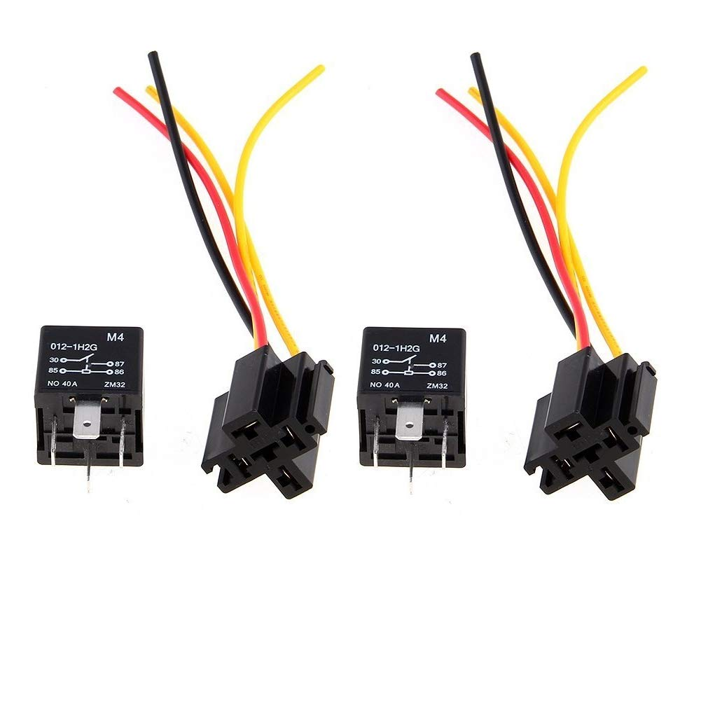 Yililay 4 PCS Car Relay Harness 12V 40A 4 Pin Harness Sockets with Color-Labeled Wires for Automotive Truck Van Motorcycle Boat(2 Cable Connector + 2 Relay) Home Products