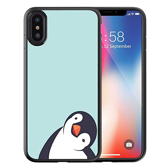 hot sale online 0279e 1ff52 Compatible with Apple iPhone XR Case Customized Black Soft Rubber TPU Case  for iPhone XR Case Black Crooked Neck Penguin-Please samile to me