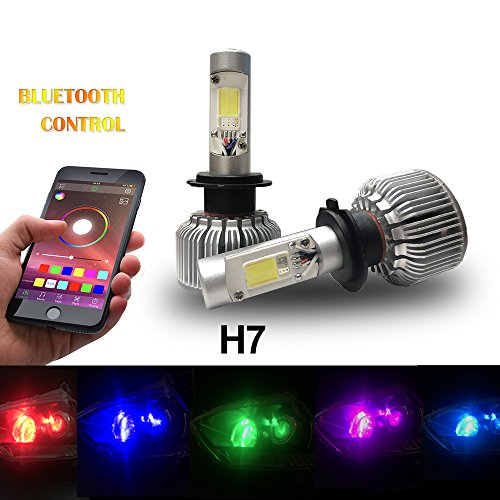 Beatto H7 RGB LED Headlight Bulb kit LED headlight Conversion APP Bluetooth Control multi-color Lights With Voice and Music Controls (Rgb Color Headlight)