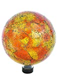 Russco III GD137166 Glass Gazing Ball, 10'', Orange Mosaic Crackle