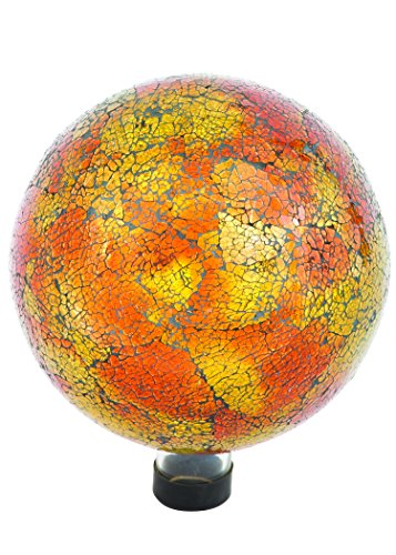 Russco III GD137166 Glass Gazing Ball, 10'', Orange Mosaic Crackle by Russco III