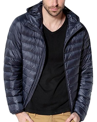 Coat Navy Jacket EKU Puffer Blue With Down Men's Hood US Packable Hooded L PqqwtBY