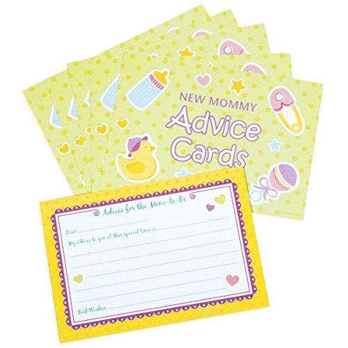 amscan Delightful New Mommy Advice Cards Baby Shower Game Party Novelty Favors (24 Count), 3-1/2 x 5