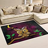 Naanle Cute Owl Area Rug 3'x5′, Owl on Tree Branch Polyester Area Rug Mat for Living Dining Dorm Room Bedroom Home Decorative Review