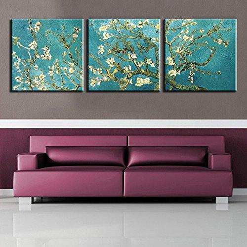 STJK$BMJW Impresión De Arte Mural Pintado De Aceite 3 Pedazo De Arte Abstracto Flor De Almendra Foto Sin Enmarcado...
