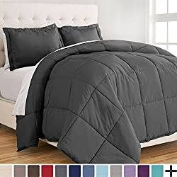 Ultra-Soft Premium 1800 Series Goose Down Alternative Comforter Set - Hypoallergenic - All Season - Plush Fiberfill, Twin Extra Long (Twin XL, Grey)