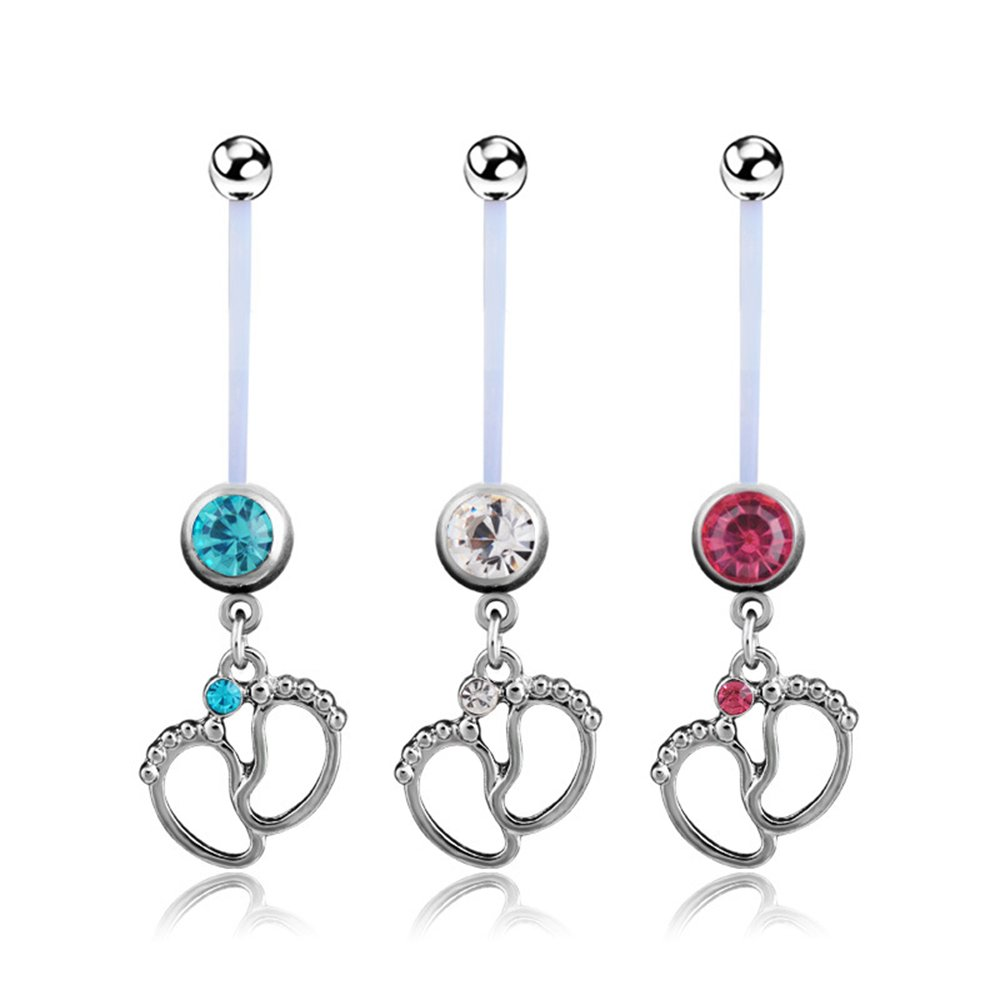 HJLjairlr Cute Baby Feet Flexible Pregnancy Belly Button Ring Sets Body Piercing Jewelry 14 Gauge