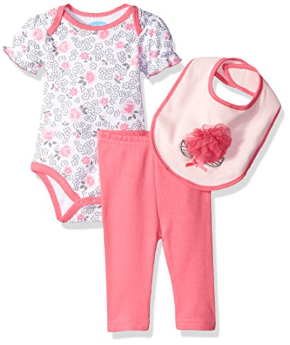 Bon Bebe Baby Girls' 3 Piece Set With Shortsleeve Bodysuit Bib and Turn-Me-Round Legging, Pink Flowers, 0-3 Months
