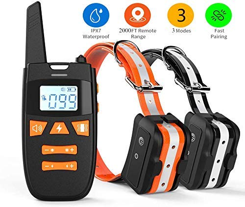 Shock Collar for Dogs, Rechargeable 100% Waterproof Dog Training Collar,2000FT Range Dog Shock Collar with Remote, 3 Modes Beep/Vibration/Shock Collar for Small Medium Large Dogs (Orange+Black)