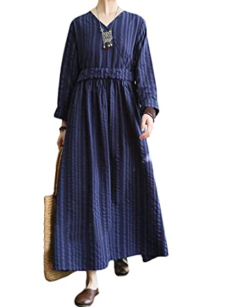 5338dc2a49c Mordenmiss Women s New Drawstring Waist Striped Cotton Linen Dress ...