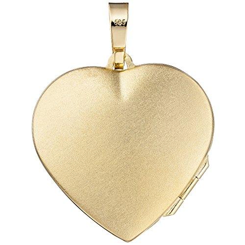 Médaillon pendentif amulette en forme de cœur avec ouverture pour femme en or jaune 585