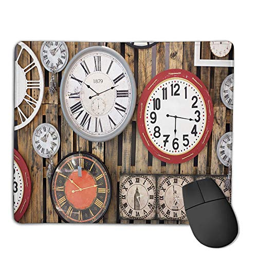(Premium-Textured Mouse Mat,Non-Slip Rubber Mousepad Waterproof,Clock Decor,Antique Clocks on The Wall Instruments of Time Vintage Decorative Pattern,Brown and Red,Applies to Games,Home, School,offic)