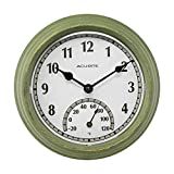 """AcuRite 02470 Rustic Green Outdoor Clock with Thermometer, 8.5"""""""