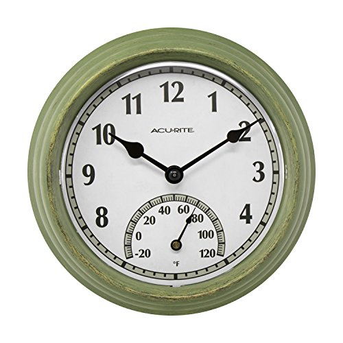 AcuRite 02470 Rustic Green Outdoor Clock with Thermometer, 8.5""