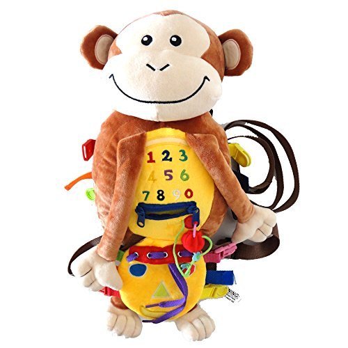 Busy Buckles Monkey Backpack - Plush Activity Learning Toy with Zippers, Latches, Buckles, Laces, Snaps, Buttons and More - Perfect for Toddlers and Kids 3+ at Home, on Airplanes, Cars or Travel (Buckle Zipper)
