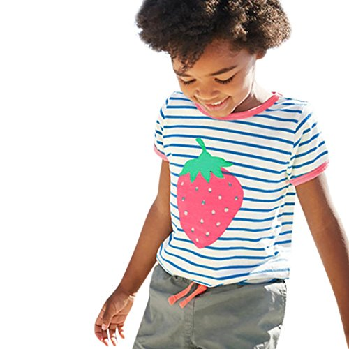 CSSD Toddler Kids Baby Girls T-Shirt, Strawberry Pattern/Sequins Butterfly Striped Tops T-Shirt Blouse Clothes (5T, Green) -