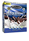 MuscleTech Mission1 Clean Protein Bars, Ultimate Baked Protein Bar, High Protein, Low Fat, Cookies and Cream, 2.12 Ounce (Pack of 4 - 60g)