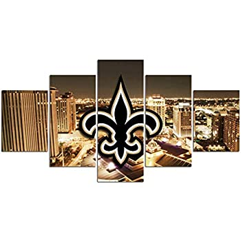 New Orleans Saints Pictures for Wall Art Paintings 5 Piece Canvas Living Room Decor Football Team Logo Artwork Decoration Poster Prints Framed Ready to Hang(60''Wx32''H)