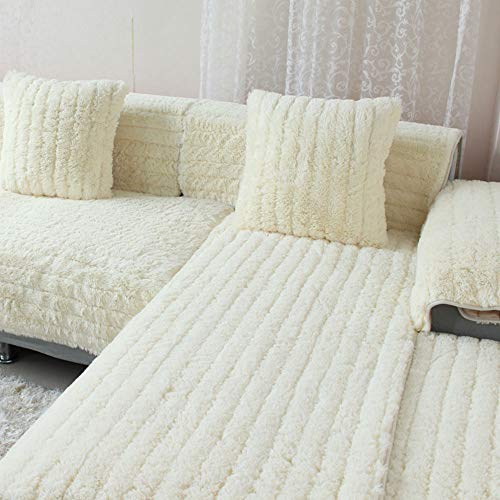 SVIO-SOFACOVER Shaggy Modern Sofa Throw Cover,Sofa Throw Covers Furniture Protector Winter Cream White Sofa Slipcover,Luxury Faux Fur Sofa Cover One Piece