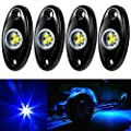 Amak 4 Pods Led Rock Light Kit For Jeep Atv Suv Offroad Car Truck Boat Underbody Glow Trail Rig Lamp Underglow Led Neon Lights Waterproof Blue