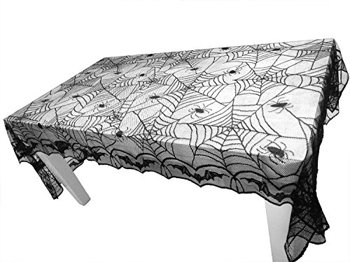 Tonfant Black Lace Tablecloth Rectangle Overlay with Spider Web and Mat for Halloween Party,Easter,Fireplace and Mantle Cover Decoration (97.6 x 48.8, Black)