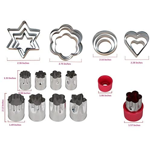 Einfac Stainless Steel Vegetable Cutter Shapes Set (20pcs) Vegetable Fruit Cookie Cutter Mold - Cute for Fun Food