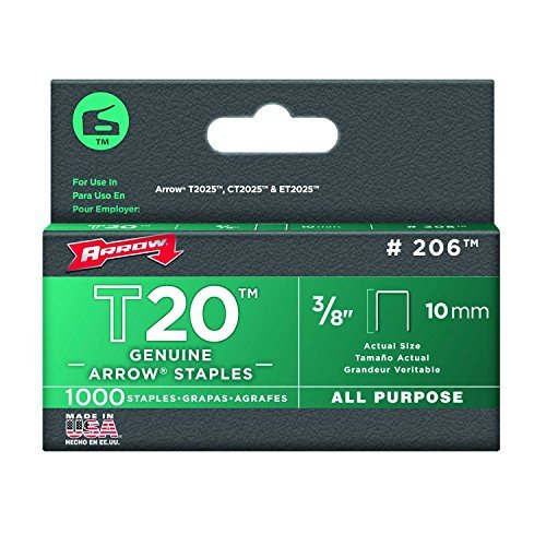 Arrow Fastener 206 Genuine T20 3/8-inch (10mm) All-Purpose Staples, 1000-Pack by Arrow Fastener
