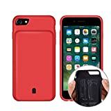 REDGO iPhone 7 6 6s 8 Battery Case 4500mAh, Rechargeable External Charger Portable Power Protective Charging Case for iPhone 7/6/ 6s/8, Red
