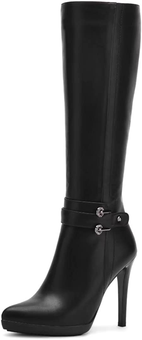 Vimisaoi Women's Knee High Boots, Pointed Toe Zip Stiletto High Heels Slim Long Tall Boots