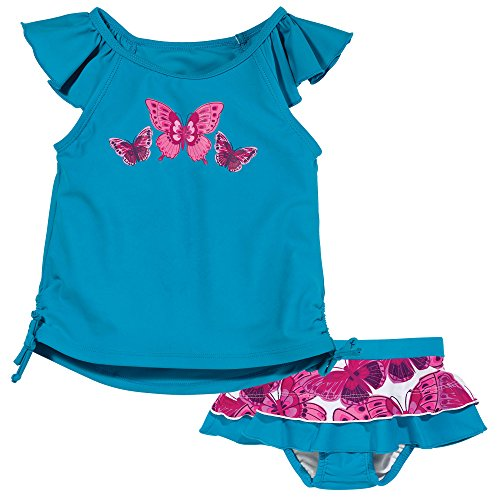 Sun Smarties Toddler-Girl Butterfly Matching Tankini and Swim Skirt Diaper 2T