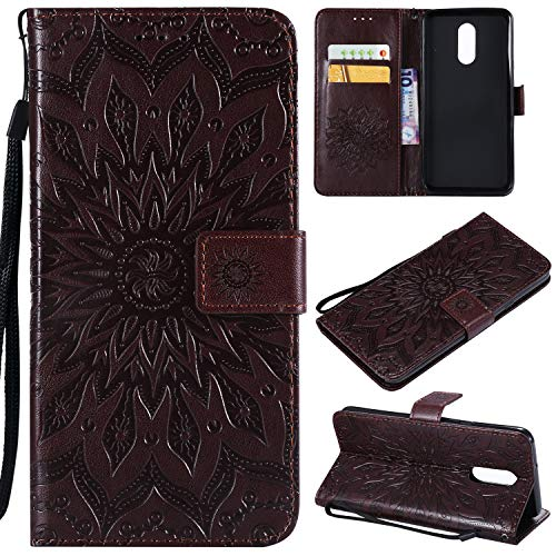 Faux Leather Protector Case (LG Stylo 4 Case,LG Q Stylus Case,LG Stylo 4 Plus Filp Case,Stylus 4 Wallet Case,Sun Flower Embossed PU Leather Magnetic Card Holders Hand Strap TPU Inner Bumper Purse Case for LG Stylo 4 Brown)