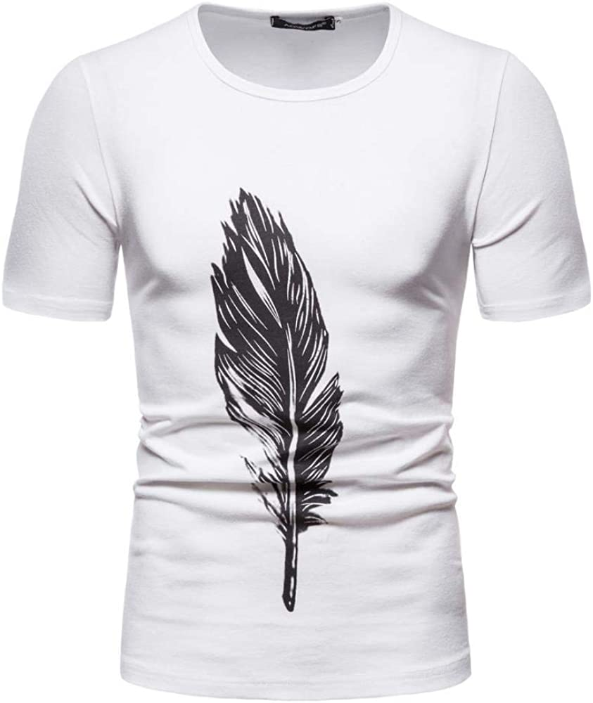 Camisetas, impresión de la Camisa de Plumas de Verano de algodón de Manga Corta Camiseta de Cuello Redondo Manga de la Mitad de los Hombres Ocasionales