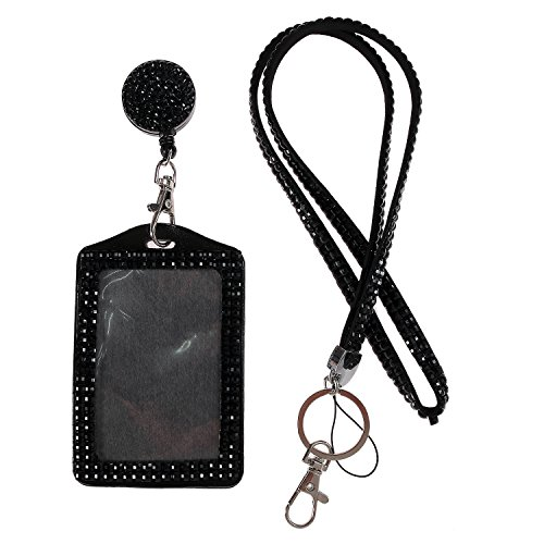 Purely Handmade Fashion Black Bling Crystal Lanyard Cute Rhinestone Badge Holder With Necklace + Badge Reel + Vertical Business Card Holder ()