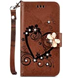 samsung galaxy j7 2017 IKASEFU Galaxy J7 2017 Case,Shiny butterfly Rhinestone Emboss Love Floral Pu Leather Diamond Bling Wallet Strap Case with Card Holder Magnetic Flip Cover Compatible with Samsung Galaxy J7 2017,brown