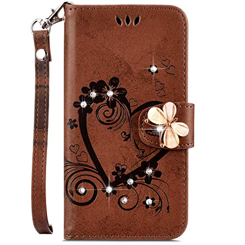 IKASEFU Galaxy J7 2017 Case,Shiny butterfly Rhinestone Emboss Love Floral Pu Leather Diamond Bling Wallet Strap Case with Card Holder Magnetic Flip Cover Compatible with Samsung Galaxy J7 2017,brown