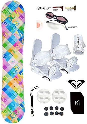 140-144cm Modern Santa Monica Pink Blue Womens Girls Snowboard Bindings Package Leash Stomp Sunglasses Roxy Decal