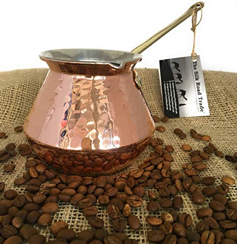 The Silk Road Trade - DC Series - Thickest Gorgeous Hammered Copper Turkish Greek Arabic Copper Coffee Pot/Coffee Maker Ibrik Briki with Cast Solid Bronze Handle - New Style 2018 (20 fl oz) by The Silk Road Trade (Image #7)