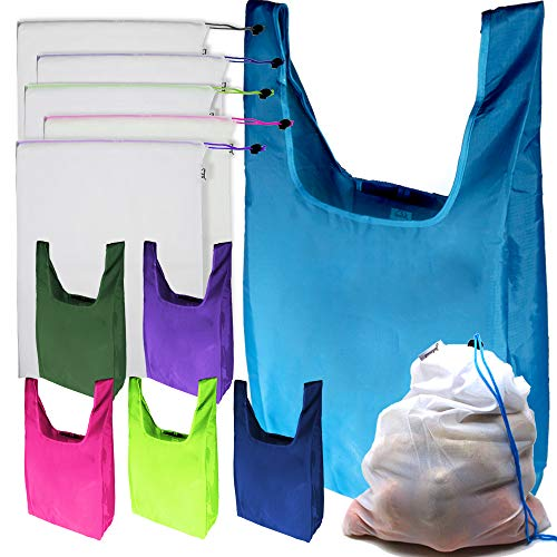 Jalousie 12 Pack Reusable Grocery Bags include 6 Grocery Foldable Totes Polyester Shopping Bags and 6 Large Reusable Mesh Produce Bags Strong Lightweight Environment Friendly
