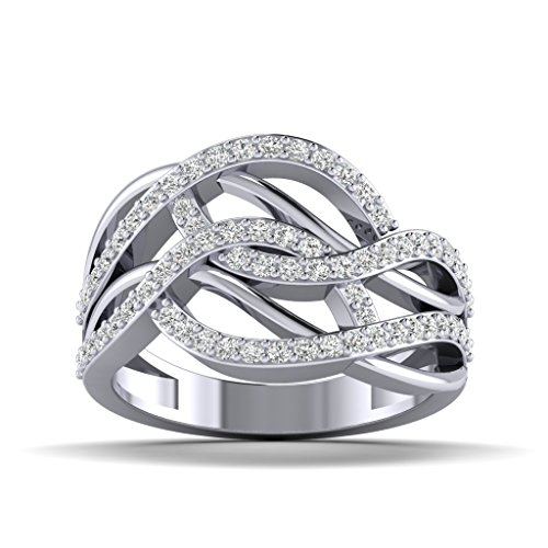 Fehu Jewel Natural Diamond Ring Collection in 10k White Gold (.655 cttw, H-I Color, I1-I2 Clarity) for Women
