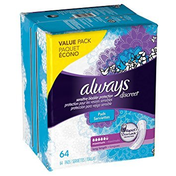 Always Discreet, Incontinence Pads, Maximum, Long Length, 39 Count. 6 CT