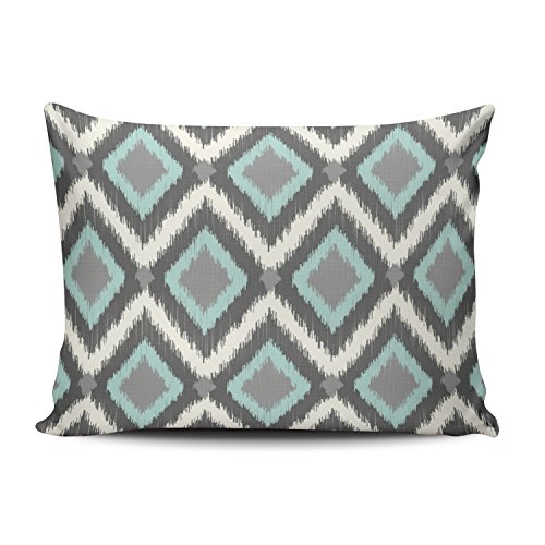 - Fanaing Bedroom Custom Decor Tribal Chevron Pillowcase Soft Zippered Aqua Mint and Grey White Throw Pillow Cover Cushion Case Fashion Design One-Side Printed Boudoir 12X18 Inches