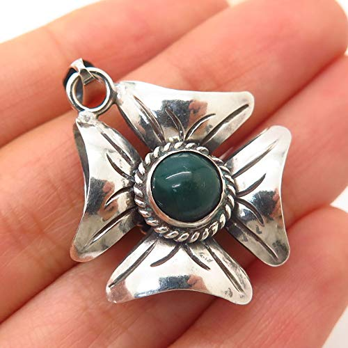 925 Sterling Vintage Mexico Green Onyx & Amethyst Gem Floral Design Pendant Jewelry Making Supply by Wholesale Charms