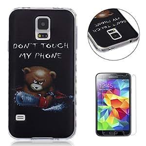 Funda CaseHome Samsung Galaxy S5 Silicone Gel Carcasa(Con HD Pantalla Protectora),[Oso de Dibujos Animados] Transparente Ligera Ultra Delgado Dure Antideslizante Alta Suave TPU Caucho